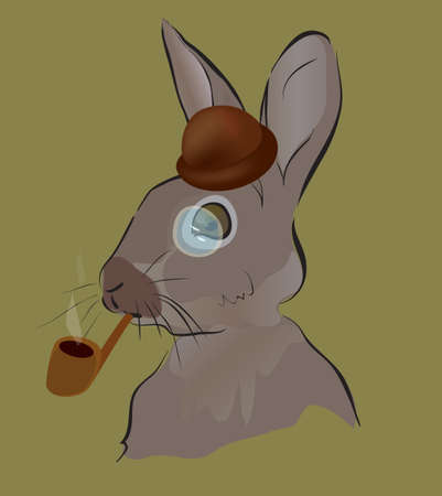 Rabbit Smoking a Pipe with Hat and Monocles
