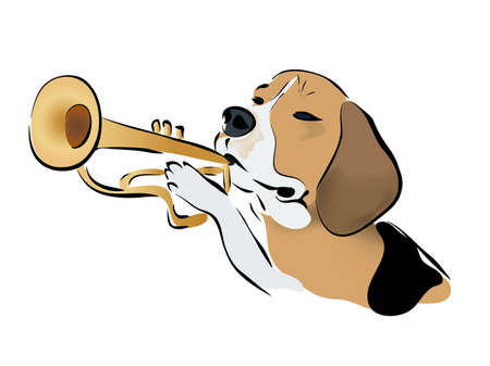 brass band: Illustration of a Beagle Dog Playing on Trumpet. Brass Band Instruments