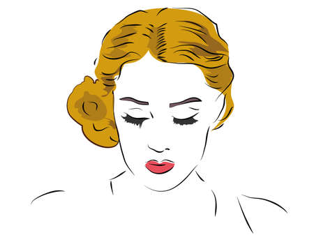 eyes looking down: Blond Woman With Red Lipstick Looking Down