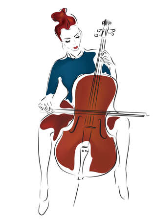 Illustration of Young Cellist Woman Playing Cello