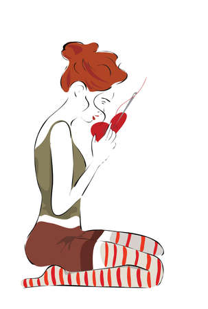 heartache: Girl Repairing a Heart with Sewing Needle Illustration