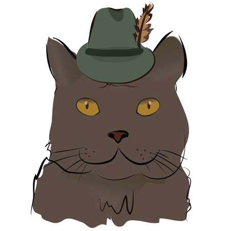 Illustration of a Cute Cat with Hat with Feather