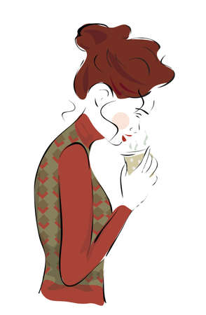 aroma: Beautiful Young Woman with a Steamy Cup of Tea or Coffee Illustration