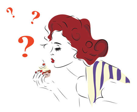 Woman with Cupcake and Question Marks Illustration