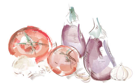 Watercolor vegetables. Tomatoes, Aubergine, Mushrooms and Garlic