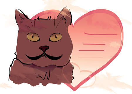 Cat with Red Heart Shaped Card with Lines