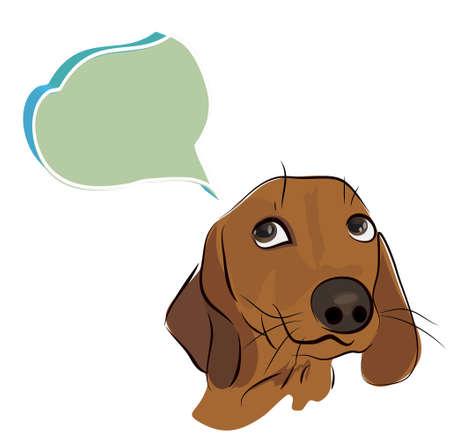 Cute Dachshund Dog with Thinking Cloud