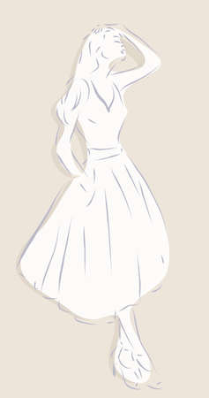 Illustration of a Beautiful Woman in a Fashion Dress