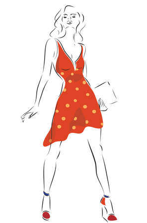 revue: Fashion Design Sketch of a Model Woman with a Dress Illustration