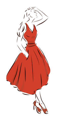 Fashion Design Sketch of a Woman with a Red Dress