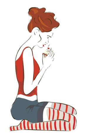 Girl Eating Sweet Chocolate Cupcake with Cream and Cherry