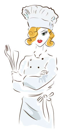 Chef woman with a hat. Illustration of a Cook with Spoon  and a  Fork