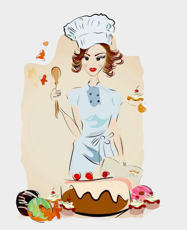 Chef Woman with Desserts and Authentic Recipe Book and Sweets Stock Photo