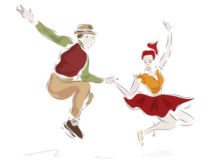 Swing Dancing Couple in Retro Clothes Style