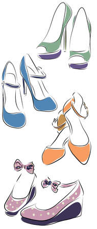 Collection of Woman Shoes. Vector of Female Set of Shoes Illustration