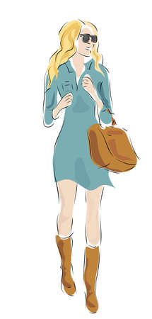 velvet dress: Beautiful Blond Woman with Fashion Clothes and Bag Illustration