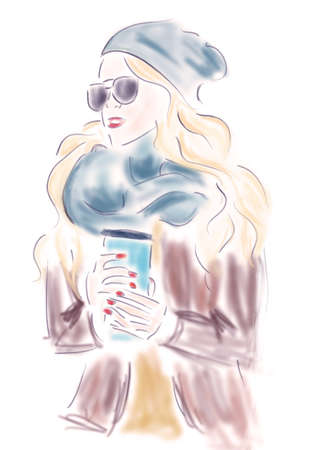 autumn woman: Fashion Blond Woman with Coffee Cup or Tea