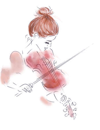 Illustration of a Girl Playing a Violin