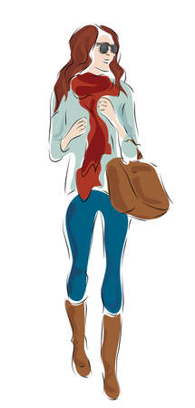 Fashion Design Sketch of a Woman with Glasses and Boots Illustration
