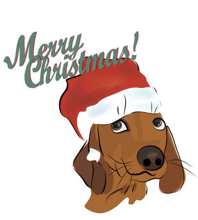 Christmas Card with Dachshund Dog with Santa Claus Hat Illustration