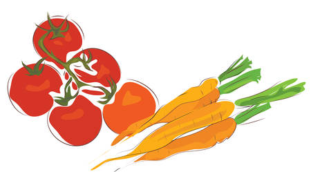 Bunch of Carrots and Tomatoes. Delicious Vegetables