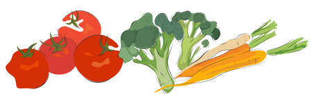 Bunch of Carrots,  Tomatoes and Broccoli. Delicious Vegetables