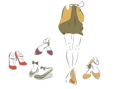 Woman and  a Collection of Female Shoes