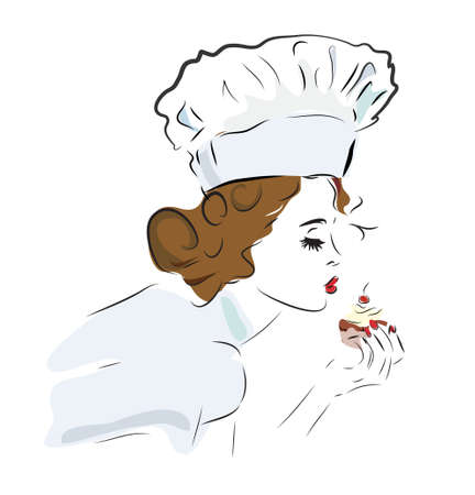 Chef Woman with Delicious Cupcake
