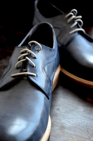 Blue Leather Man Shoes. Classic design