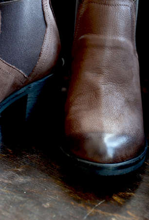 Woman Leather Shoes Close up Stock Photo