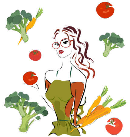 Beautiful Woman Cooking with Fresh Vegetables