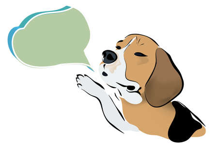 Beagle Dog Talking with a Speaking Bubble