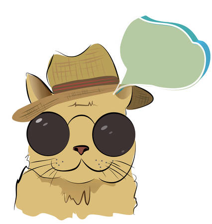 Cute Cat with Glasses and Hat Talking with a Speaking Bubble Illustration