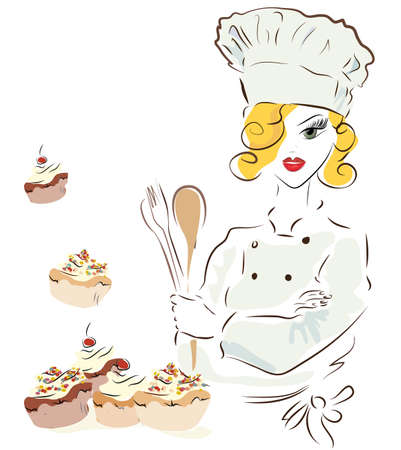 Chef woman with a hat. Illustration of a Cook with Cupcakes Illustration