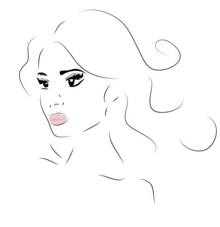 Woman Face. Illustration of a Girl Looking Forward Illustration
