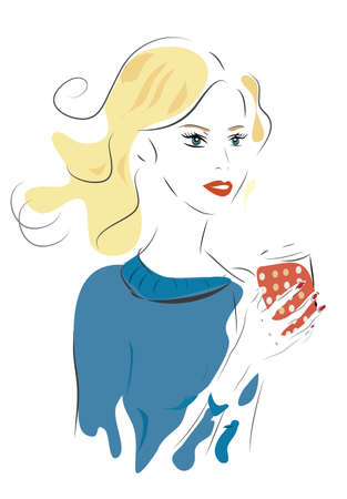 Girl with Coffee Cup or Tea. Vector of a Woman Holding a Cup Illustration