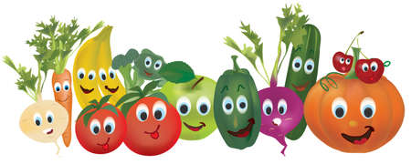 アニメーション化された野菜や果物のイラスト集。 ベクターイラストレーション
