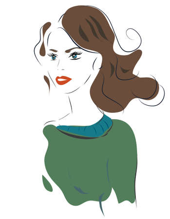Beautiful woman portrait. Illustration