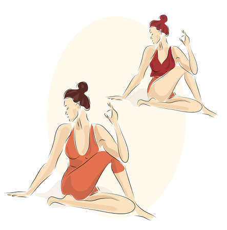 Two young women in Yoga Poses. Illustration