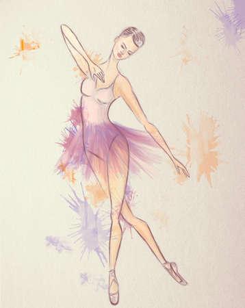 Ballerina Drawing. Ballet dance performer