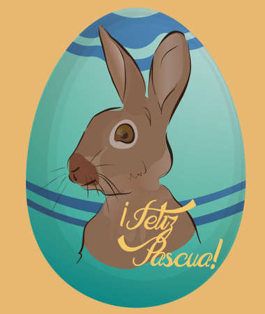 Feliz Pascua Holiday Card with Eggs and Bunny