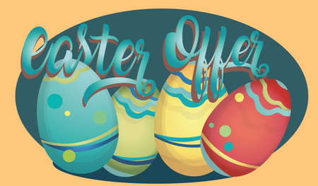 Easter Offer Advertising Banner with Colorful Eggs Vector illustration.