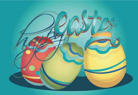 Happy Easter Holiday Card with Eggs Vector illustration.