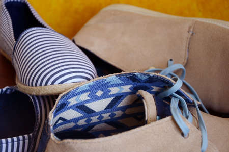 Womens Fabric and Mens Leather Shoes for Spring and Summer Banque d'images