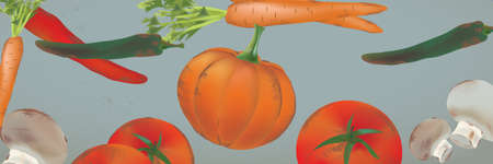 Seamless Background Banner With Vegetables and Fruits - Pumpkin, Tomatoes, Carrots, Peppers Banque d'images