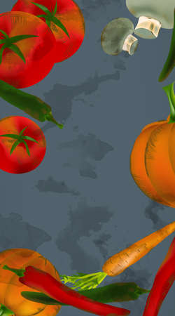 Seamless Background Banner With Vegetables and Fruits - Pumpkin, Tomatoes, Carrots, Peppers Banque d'images - 107505385