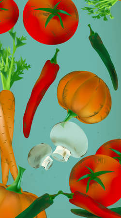 Seamless Backdrop With Vegetables and Fruits - Pumpkin, Tomatoes, Carrots, Peppers