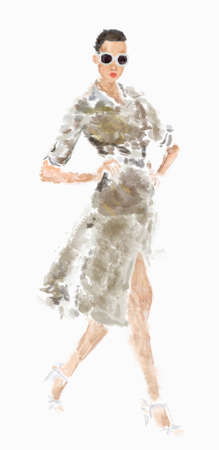Watercolor Portrait of a Fashionable Woman with Sunglasses on High Heel Shoes