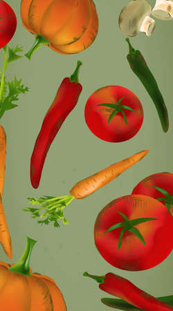 Banner  With Vegetables and Fruits - Pumpkin, Tomatoes, Carrots, Peppers Banque d'images - 107846312
