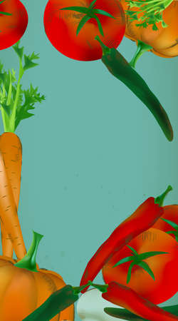 Banner  With Vegetables and Fruits - Pumpkin, Tomatoes, Carrots, Peppers Banque d'images - 107846314